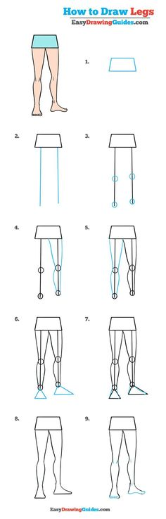 Learn How to Draw Legs: Easy Step-by-Step Drawing Tutorial for Kids and Beginners. #Legs #drawing #tutorial. See the full tutorial at https://easydrawingguides.com/draw-legs-really-easy-drawing-tutorial/.