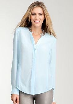 Embellished Collar Button Up Blouse -So modern, love the color, so chic. #bebewishlist