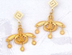 Greek Jewelry :: 14k Gold Earrings :: Gold Malia Bees Earring -