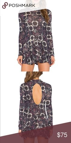 Free People Annabelle Printed Tunic Mock neck tunic with cutout back. Free People Tops Tunics