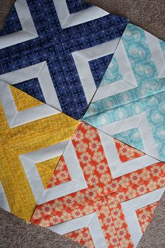 What a neat block! X block Sew strips together then cut with triangle ruler, flipping for every other one.