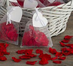 Ten Jewel Red Fresh Rose Petal Confetti Bags