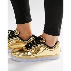 Wize & Ope Pop Gold Light Up Sole Sneakers ($193) ❤ liked on Polyvore featuring shoes, sneakers, gold, gold sneakers, metallic gold shoes, chunky shoes, metallic shoes and leather upper shoes