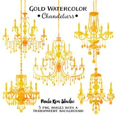 Gold Foil Chandelier Clipart By PaulaKimStudio