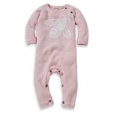 Burt's Bees Baby™ Organic Cotton Jacquard Bee Sweater Coverall in Pink - buybuyBaby.com