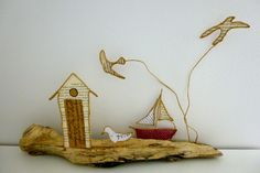 Etsy - Shop for handmade, vintage, custom, and unique gifts for everyone String Crafts, Wire Crafts, Diy And Crafts, Book Sculpture, Am Meer, Wire Art, Beach Art, Decoration, Driftwood