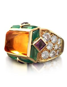 A CITRINE, DIAMONDS, EMERALDS, AMETHYST AND 18K GOLD RING, BY MAUBOUSSIN.