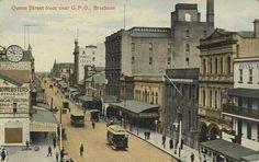 Queen Street from near the General Post Office, Brisbane, ca. 1912 by State… Brisbane Cbd, Brisbane Queensland, Queensland Australia, Gold Coast Queensland, Brisbane Gold Coast, General Post Office, Old Photos, Vintage Photos, Anzac Day