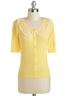 Under the Sunflowers Cardigan - Yellow, White, Solid, Buttons, Lace, Work, Short Sleeves, Mid-length, Daytime Party, Button Down, Spring