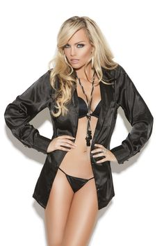 06898eeb508 Charmeuse satin long sleeve sleep shirt in elegant black color. Sexy sleep  shirt is made of satin. Fabulous satin shirt is available also in plus size.