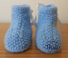 Les chaussons bottine au point de riz vue de devant