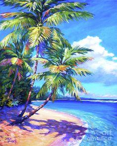 Grand Cayman Wall Art - Painting - Caribbean Paradise by John Clark Landscape Art, Landscape Paintings, Landscapes, Palm Tree Art, Palm Trees, Beach Pink, Clark Art, Caribbean Art, Tropical Art