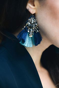 Add some glitz and glam to your look with our jewel dangle earrings with a light blue and dark blue fringe accent c/o Julia Ludin | Banana Republic