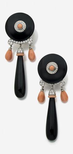 MARCHAK-Art Deco coral, onyx earrings