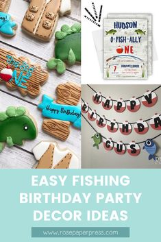 The best ideas for an O-Fish-Ally One Fishing 1st Birthday Party. Featuring invitations, cake, cookies, banners, decorations, thank you cards, and more. Boy fishing birthday or girl fishing birthday. 1st Birthday Party Decorations, Kids Birthday Themes, Party Themes For Boys, Birthday Invitations Kids, 1st Birthday Parties, Boy Birthday, O Fish Ally, Popular Birthdays, Girl Fishing