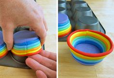 How to make Edible cupcake cups made with a rainbow of colored marshmallow fondant for St. Patrick's Day, Earth Day, or any day.