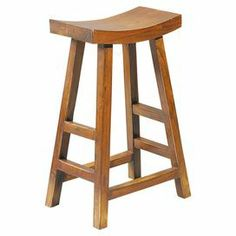 """Oak wood counter stool with a curved seat.    Product: Counter stoolConstruction Material: Solid oak woodColor: Brown Features: Curved seat Dimensions: 25"""" H x 18"""" W x 9"""" D"""