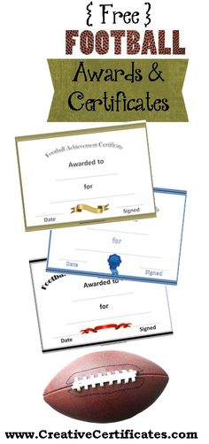 A variety of free printable football certificates that can be customized online. Many more free sports awards and award certificates on this site. Team Mom Football, Football Coach Gifts, Football Banquet, Football Awards, Free Football, Sports Awards, Custom Football, Youth Football, Football Season