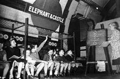A Maths Lesson at the Elephant and Castle Tube Station at Elephant and Castle South East London England in WW2 in 1941