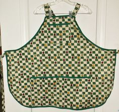 Bib Apron Apples and Squares  2110 by TheKraftyKats on Etsy (Accessories, Apron, Full, apron, apples, bib apron, squares, checks, full apron, cooking apron, Mother's Day Apron, gift apron, mom gift apron, accessories, apron with pocket, vintage inspired)