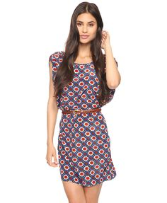 Satiny Abstract Dress w/ Belt | FOREVER21 - 2000021302