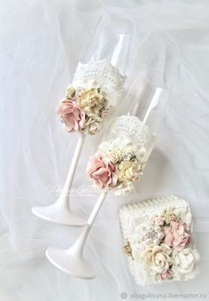 """Wedding glasses """"Peach and ivory"""" – shop online on Livemaster with shipping"""