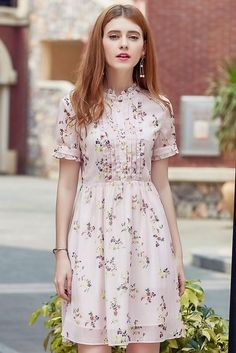 Floral Ruffle High Waist Dress – The Other Sparrows Trendy Dresses, Cute Dresses, Vintage Dresses, Casual Dresses, Dresses With Sleeves, Girly Outfits, Dress Outfits, Fashion Dresses, Cute Outfits