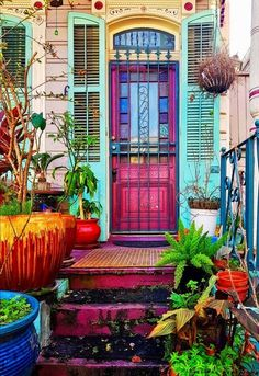 Door colour with stained glass windows - French Quarter, New Orleans, Louisiana