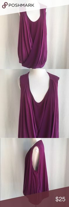 """Lane Bryant Top Beautiful plus size deep purple draped top from Lane Bryant. The pull-over top is sleeveless with flattering front draping and a satin band at the hem. Material listed on tag photo.  Size 22/24. Bust 49"""". Like new condition. No flaws or signs of wear. Lane Bryant Tops"""