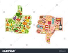 Healthy fresh vegetables and unhealthy junk food comparison with. <br> Healthy fresh vegetables and unhealthy junk food comparison with thumbs up and down, healthy eating and diet concept Healthy And Unhealthy Food, Healthy Kids, Healthy Eating, Food Crafts, Preschool Activities, Preschool Food, Junk Food, Healthy Potatoes, Nutrition Activities