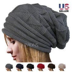 Knit Men's Women's Baggy Beanie Oversize Winter Hat Ski Slouchy Chic Cap Skull   eBay
