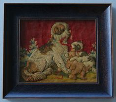 Victorian Needlepoint Dog With Pups Ab Fab, Vintage Dog, Needlepoint Kits, Charles Spaniel, Vintage Embroidery, King Charles, Antique Art, Dog Art, Mans Best Friend
