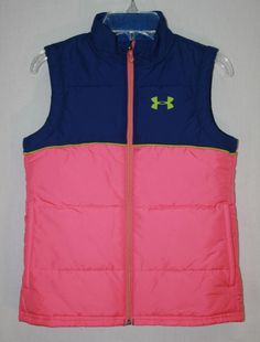 Girls Under Armour Loose Cold Gear Chill Vest Pink Blue Youth Small YSM #UnderArmour