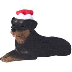 Holiday Pet Gifts Rottweiler Santa Hat Dog Porcelain Christmas Tree Ornament