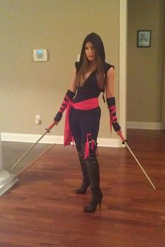 Diy last minute ninja costume girl ninja halloween costume dont like the boots just wanted to see what costume looked like on someone who wasnt holidays halloweenhalloween ideashalloween costumeshalloween solutioingenieria Images