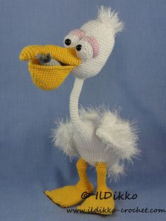 This listing is for a crochet pattern and not a finished item!!!  Pablo the Pelican:  More photos available on Facebook: https://www.facebook.com/IlDikko Or check out IlDikko website: http://ildikko-crochet.com  The pattern is very detailed and contains a lot of pictures. Pablo has a wire skeleton. This is an instant digital download PDF pattern (ready to download immediately after the payment). Finished size: Pablo will be approximately 30 cm tall  Language: English language (American…