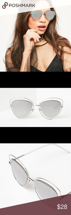 NWT SILVER MIRROR SILVER FRAME CAT EYE SUNGLASSES NWT - purely silver baby! Let your eyes do the talking wearing these sunglasses before you even hit the pool or beach! Featuring a silver hue, reflective lenses, cat eye design and Silver metal frame. They are the ultimate new season piece! (IF YOU LIKE TO MIX IT UP A BIT, CHECK OUT MY GOLD FRAME SILVER LENSES EXACT SAME STYLE IN A SEPARATE LISTING :) Missguided Accessories Sunglasses