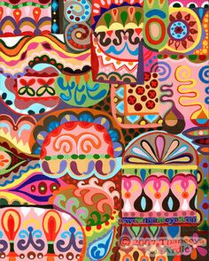 Colorful abstract art by Thaneeya McArdle: Psychedelic paintings and drawings in a groovy detailed style with tribal folk art influences. Pattern Art, Pattern Design, India Pattern, Surface Pattern, Textures Patterns, Print Patterns, Arte Tribal, Tribal Art, Design Textile