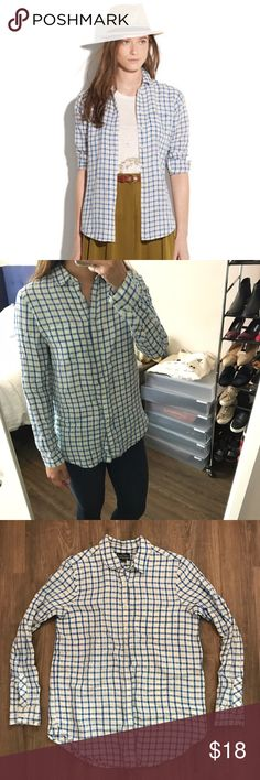Madewell Perry Plaid Boy Shirt Spring/summer weight button down shirt in white and blue plaid. Pocket on left chest. Material has a slight crinkle to it (since it's mostly linen). Brand is Broadway & Broome (Madewell). 55% linen, 45% cotton. Madewell Tops Button Down Shirts
