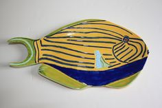 Handmade ceramic fish platter Fish Platter, Ceramic Fish, Handmade Ceramic, Art Work, Pottery, Ceramics, Sculpture, Wall Art, Space