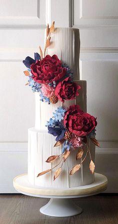 Amazing Wedding Cakes, Unique Wedding Cakes, Nontraditional Wedding, Wedding Cake Designs, Blue Silver Weddings, Contemporary Wedding Cakes, Textured Wedding Cakes, Beautiful Cake Designs, Cake Decorating With Fondant