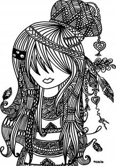 Free printable adult coloring page Female girl doodles Woodstock