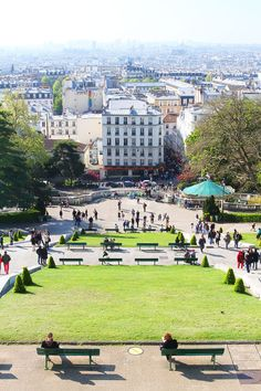 Montmartre, Paris, France. You can get a pretty good view just outside of the church! A beautiful place to sit for a picnic with a view of Paris.
