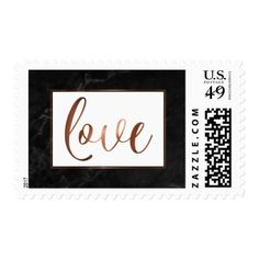 Faux Copper Script & Black Marble Love Typography Postage - beauty gifts stylish beautiful cool