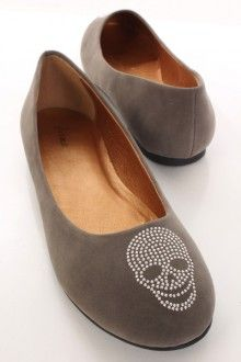 Grey Faux Suede Studded Skull Print Round Closed Toe Flats