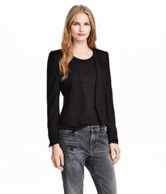 Short, fitted jacket in woven fabric with no lapels. Decorative pocket flaps at front, gently flared peplum at back, and long sleeves with short slits at cuffs. No buttons. Lined. H&m Online, Blazer Jacket, Fashion Online, Kids Fashion, Pullover, Beauty, My Style, Long Sleeve, Fitness