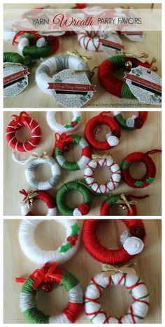 Simple yarn wreath party favors to use as ornaments. These would also be cute as present toppers! Crochet Christmas Wreath, Christmas Crafts To Make, Christmas Ornament Crafts, Homemade Christmas Gifts, Holiday Crafts, Christmas Wreaths, Winter Wreaths, Spring Wreaths, Summer Wreath