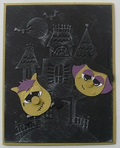 Halloween Witch and Frankenstein using Stampin Up Owl Punch