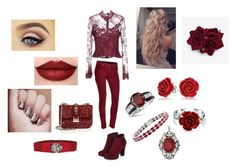 """""""Maroon/ Read the d!!"""" by kayla-faber ❤ liked on Polyvore featuring Cailan'd, 7 For All Mankind, Bling Jewelry, Kevin Jewelers, Valentino and New Directions"""