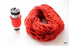 Un snood à tricoter avec les bras !